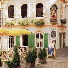 European photo of cafe with green shutters in Salzburg, Austria by Dennis Barloga | Photos of Europe: Fine Art Photographs by Dennis Barloga...