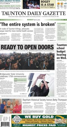 The front page of the Taunton Daily Gazette for Monday, May 16, 2016.
