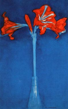 Amaryllis, Piet Mondrain (1872-1944)  Dutch painter who was born in the Netherlands into an artistic family.