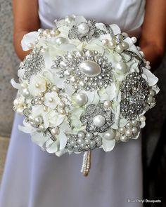 Elegant Pearl Hydrangea Brooch Bouquet by Blue Petyl by BluePetyl, $350.00