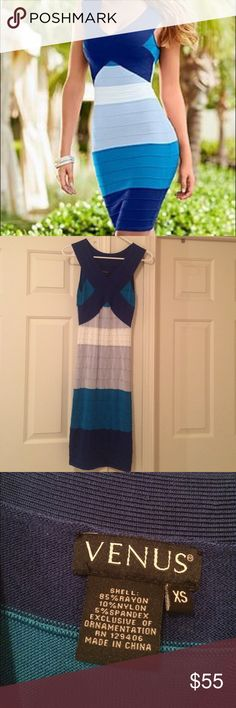 Blue, grey, white bandage dress •Smoke free •No stains/tears/rips •Elegant bandage dress. Worn twice. Venus Dresses Midi