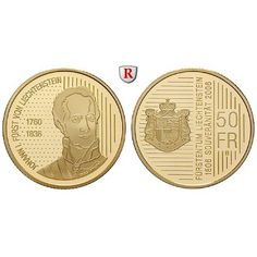 Liechtenstein, Hans Adam II., 50 Franken 2006, 9,0 g fein, PP: Hans Adam II. seit 1990. 50 Franken 9,0 g fein, 2006. Johann I.… #coins