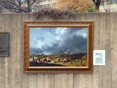 Off the Wall is a series of temporary installations in public spaces throughout Baltimore, initiated as an outreach effort by the Walters Art Museum. Reproductions of paintings from the museum's permanent collection are on view through the end of 2013, including Shipwreck in a Storm by Willen van Diest at 200 East Pratt St.