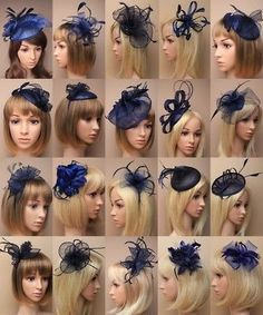 NAVY FASCINATOR, WEDDING, PROM, RACES, ASCOT, OCCASION - CHOOSE DESIGN - LOT Sombreros Fascinator, Navy Fascinator, Facinator Hats, Headpiece, Diy Hair Fascinator, Wedding Fascinators, Wedding Bows, Prom Flowers, Bridesmaid Flowers