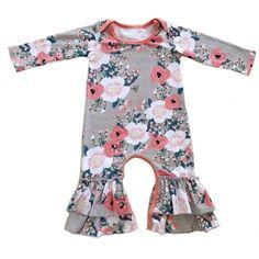 Headband Set For 0-24 Months Baby SECRET CHERISH Newborn Girls Bodysuit Flower Print Long Sleeve Cotton Romper