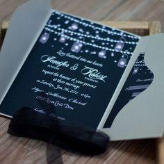 dark blue stright lights masonjar pocket wedding invitations EWPI189