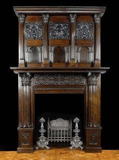 Carved oak Jacobean fireplace mantel and overmantel
