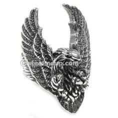 Stainless Steel Hunting Eagle Men Biker Ring
