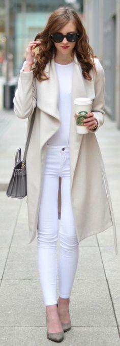 Barbora Ondrackova + ultra sophisticated + sleek white jeans + pale pink overcoat + neutral palette!   Coat/Jeans: Mango, Top: Acne, Heels: Buffalo, Bag: Saint Laurent.