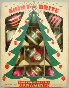 Shiny Brite Box of Christmas Ornaments Brings back so many memories of trimming the tree.