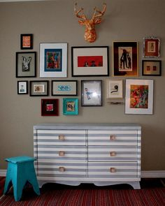 White and Grey Striped Dresser. $575.00, via Etsy.    Not the typical dresser, and such a fun eclectic wall display full of color.