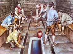 Re-imagining of a Roman latrine by illustrator Ron Embleton.