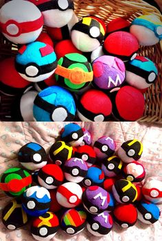 These may look like real Pokeballs, but don't let them fool you! Instead of a Pokemon hiding inside, these accurately designed Pokeballs are filled with soft stuffing, making them the perfect toy for throwing around! Pokemon Eevee, Pokemon Room, Pokemon Craft, Pokemon Plush, Pokemon Party, Pokemon Birthday, Pokemon Diys, Bulbasaur, Sewing Crafts