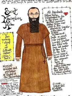 Paper Dali: Saint Maximilian Kolbe color page - fantastic for today and our Little Max one day! Lives Of The Saints, All Saints Day, Catholic Crafts, Catholic Kids, Catholic Religion, Catholic Saints, St Maximilian, Art Thou, Eucharist