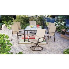 Mainstays Square Tile 7-Piece Patio Dining Set, Seats 6 I like the table top that can be matched with the same tile you have on the floor or countertops. Swivel chairs rock too!