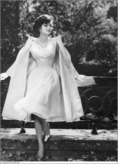 Marie-Hélène Arnaud in pale pink satin and chiffon evening dress with matching satin coat by Patou for Vogue Pattern photo by Roger Prigent, Vogue, November 1957 Fashion 60s, Look Fashion, Fashion Dresses, 1950s Fashion Women, 1950s Women, Vintage Fashion 1950s, Fashion Coat, Vintage Glamour, Vintage Beauty