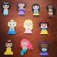 Disney Princesses Perler Fuse Beads by Fuse101