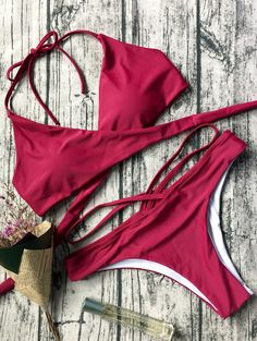 Halter Crossover Double Side Bikini Set