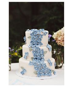 Something Blue ~ A classic white fondant cake gets a touch of color from gum paste hydrangea petals cascading down one side.  Photo by: Sarah...