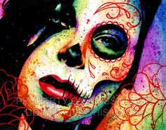 Pop Art Day of the Dead Sugar Skull Girl Portrait Art Print - Dead Inside by Carissa Rose on Etsy, $5.00