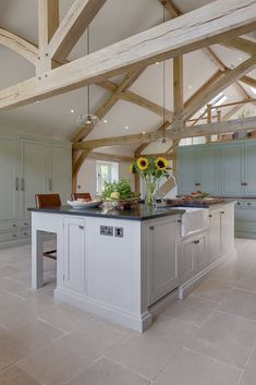 Stunning country style kitchen with beautiful Limestone flooring click the image or link for more info. Stone Kitchen Floor, Barn Kitchen, Kitchen Tiles, Kitchen Flooring, Kitchen Furniture, Kitchen Design, Modern Flooring, Furniture Stores, Bedroom Furniture