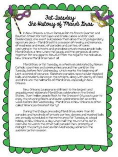 Mardi Gras History Informational Book