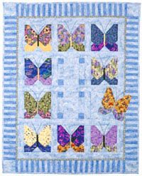 "Quilt Patterns: ""Butterfly's Break"" - 53""x 65""Tone-on-tone sky blues are the perfect backdrop for these dramatic bea"