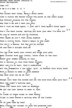 thunder road guitar chords ree - Google Search