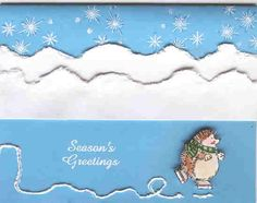 Muzzys Skating Hedgie using Stampin Up Holiday Hedgehogs