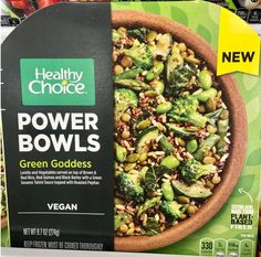 Late last year, Healthy Choice released a bunch of new plant-based options within its Power Bowls line. You can get vegan options jam-packed with veggies, meatless options that are made with veggies and a bit of dairy here and there, or even keto bowls. The Green Goddess Power Bowl is one of the best they offer if you're looking for plant-based protein and lots of veggies. This one has 12 grams of fiber (!!!), thanks to all the broccoli, zucchini, asparagus, edamame, lentils, brown rice… Asparagus, Broccoli, Power Bowl, Tahini Sauce, Green Goddess, Frozen Meals, Plant Based Protein, Edamame, Vegan Options