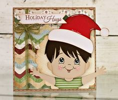 Card made using Pretty Paper, Pretty Ribbons Make A Wish cutting files, Scrappy Moms stamps, PEachy Keen face stamps