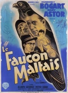 A French movie poster for The Maltese Falcon (1941). #vintage #movies #posters #1940s