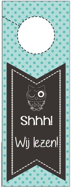 """Deurhanger klas: """"Shhh! Wij lezen!""""  © Sarah Verhoeven"""