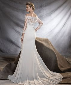 ORSA - Wedding dress with lace motifs in gauze and tulle