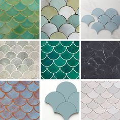 Looking For Fish Scale Tiles? Where to Find Our Favorites - Badezimmer - Fish scale tiles (also know as fan tiles or scallop tiles) are one of our favorite shapes right now, - Mermaid Tile, Mermaid Bathroom, Mermaid Scales, Scallop Tiles, Casa Milano, Fish Scale Tile, Tiles Texture, Fish Scales, Tile Patterns