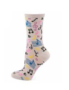 Musical Notes Crew Socks by MeMoi Gift For Music Lover, Music Lovers, Crew Socks, Musicals, Notes, Gifts, Outfits, Fashion, Presents