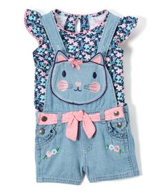 This play-ready pair is equipped with a frilly angel-sleeve top that exudes girly gusto from beneath a pair of sweet kitty shortalls, both cut from snuggly-soft cotton for daylong comfort.Includes top & shortalls100% cottonMachine wash; tumble dryImported