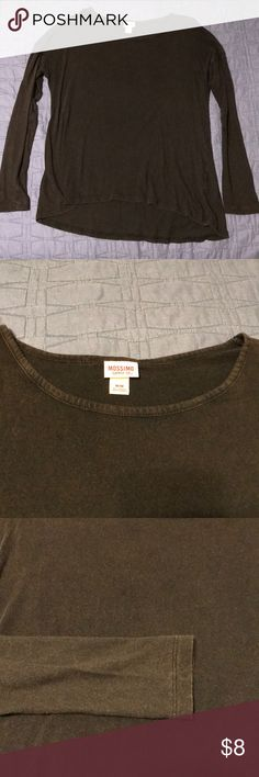 Mossimo Long-Sleeved Shirt Long-sleeved top with slight high-low hem. Drop shoulder gives a slouchy, comfy look. The color is black with a red/brown hue. So soft and cozy!  Skinny Jeans and Flip Flops also available in my closet! Bundle this outfit and save! Mossimo Supply Co. Tops Tees - Long Sleeve