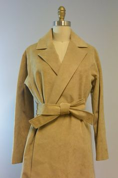 Vintage Khaki Ultra Suede Belted Trench Coat by Gino Rossi for Wilson available at OdettesVintage, $65.00