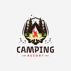 Camping resort designed by Dedy Setiyawan. Logo Inspiration, Camping Resort, Camping Style, Camping Theme, Camping Wedding, Camp Logo, Outdoor Logos, Vintage Logo, Wonderful Day