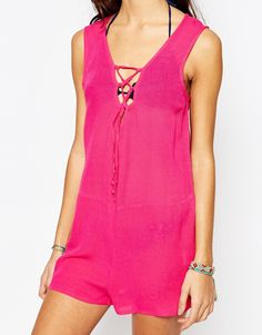 Image 3 of Akasa Lace Up Beach Playsuit
