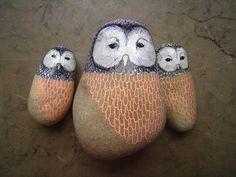 Pet Painted Owl Rocks