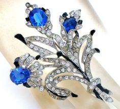 Blue Rhinestone Flower Brooch Pin Vintage Enamel - The Jewelry Lady's Store - 1