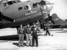 B-17F Bad Check #41-24587 (GN-P) (photo: 19 Oct 1942 - Dow Field, Bangor, Maine)  (L-R) 2Lt John L. Dillinger (CP), Capt Billy B. Southworth (P), 1Lt Milton K. Conver (B)