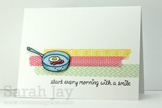 Lawnscaping Challenge #33 - #CAS (Clean & Simple) - Love Sarah Jay's use of washi tape! (Honorable Gnome)