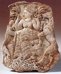 ca.1300 BCE. Dancing Goddess Waving Sheaves of Grain in her hands surrounded by lovely modeled Rampant Goats. Ugarit (N. Syria) Phoenician. Bare chested wearing an elaborate skirt, headdress, and jewelry.   Symbols of fertility and agriculture. Louvre,