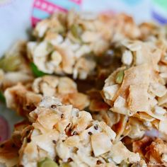 Perfect for a hike, a party bite, or a snack for the snacker in your house. Coconut Brittle Recipe, Coconut Clusters Recipe, Brittle Recipes, Coconut Recipes, Real Food Recipes, Cooking Recipes, Coconut Clusters Costco, Healthy Bars, Healthy Cooking