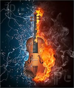 Illustration of Violin in Fire and Water Isolated on Black Background