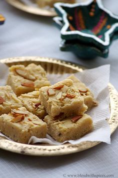 Seven Cup Burfi Recipe - A delicious Indian sweet made with 7 cups of ingredients. An easy recipe for #Diwali - blendwithspices.com