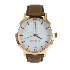Modern round watch in rose gold with a dark taupe leather strap. Ethical watches made with scrap leather that would otherwise go to waste. Leather Scraps, Stainless Steel Case, Taupe, Rose Gold, The Originals, Brown, Dark, Women's Watches, Modern